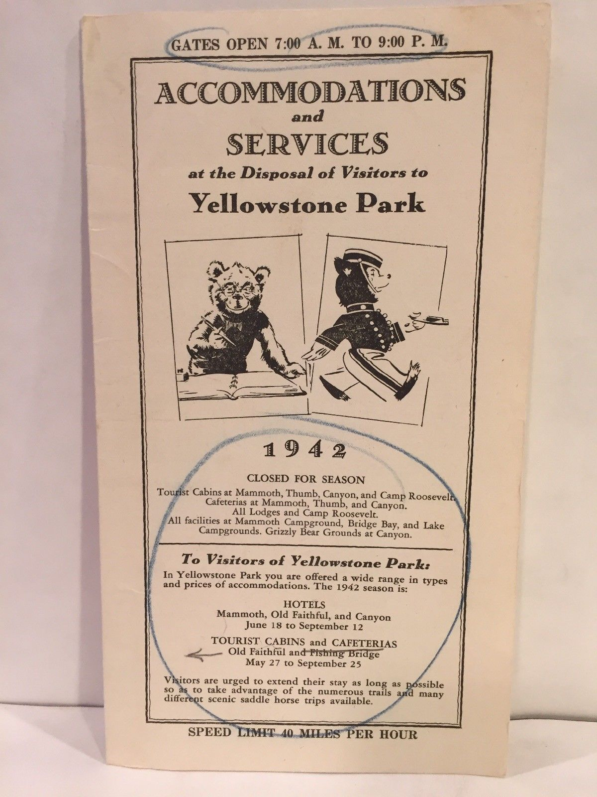 1942 ACCOMMODATIONS AND SERVICES at Yellowstone Park Tourist Cabins Hotels  Map