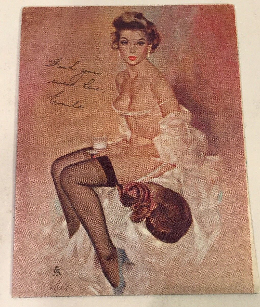 1940s Real Porn - 1940s PINUP SEMI NUDE CARD Emilia with a Pussy Cat Tasteful Soft Porn