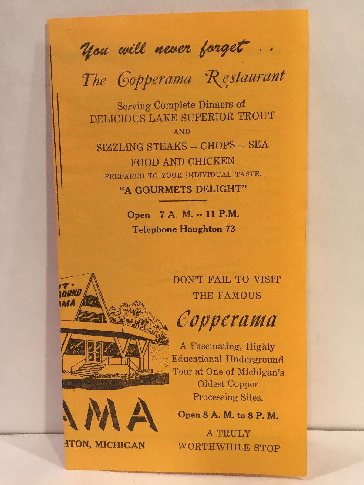 1968 THE COPPERAMA RESTAURANT Houghton Michigan Travel Brochure and Michigan Travel Map on michigan maps online, michigan area codes, southeastern mi map, michigan culture, michigan government, michigan trip, michigan travel brochure, michigan trivia, michigan travel destinations, michigan home, michigan-ohio map, michigan travel guide, michigan hotels, michigan vacation, michigan travel poster, michigan activities, michigan country, michigan travel information, michigan beach resorts, michigan time,