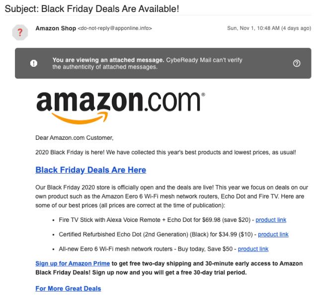 Black Friday Phishing Email Example