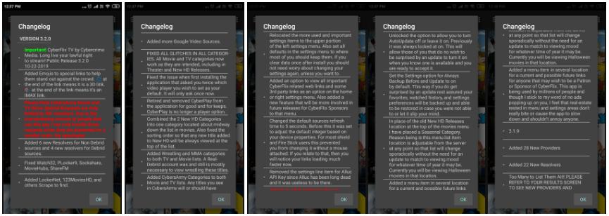 cyberflix tv change log