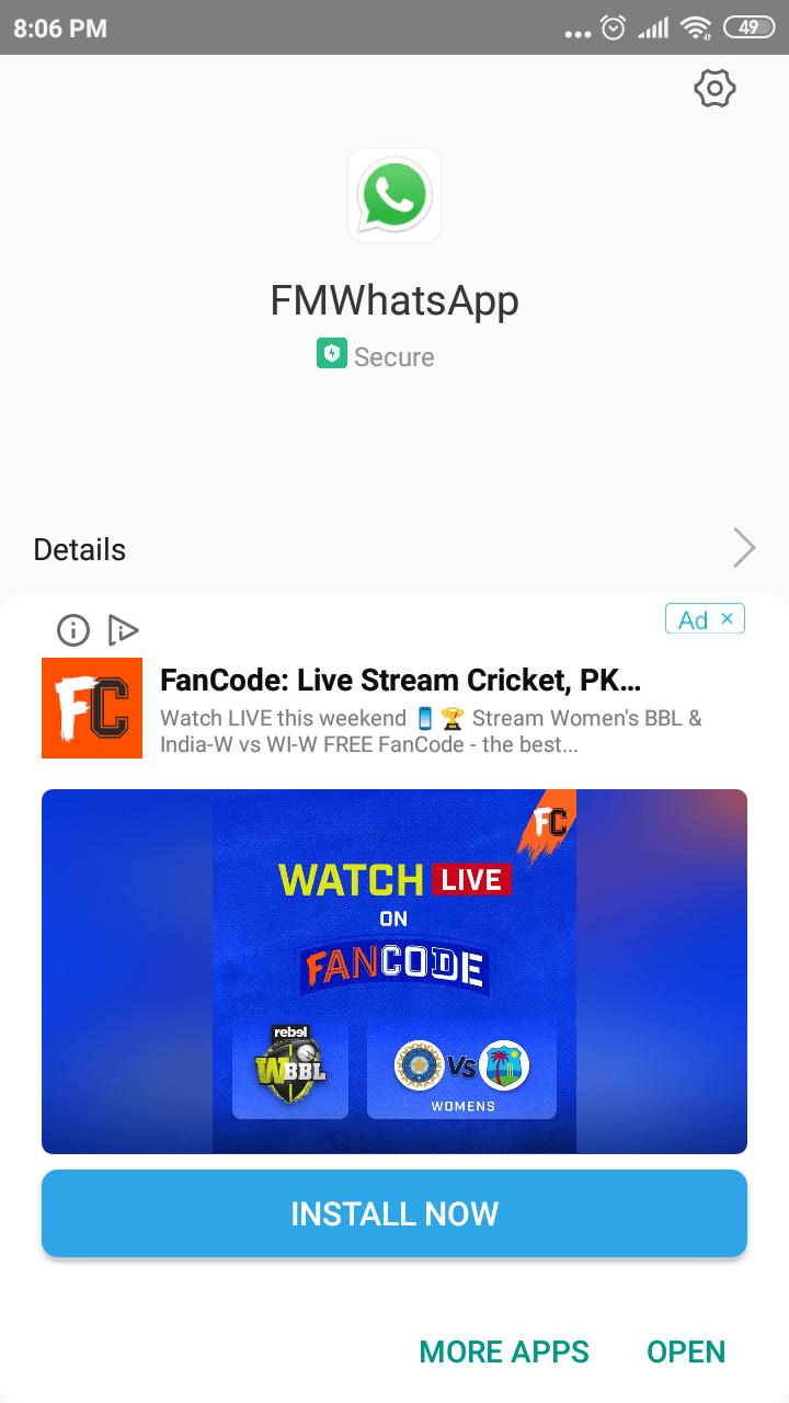 Install FMWhatsApp Android app