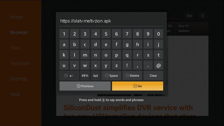 Install TVZion on Firesitkc