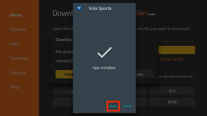 Install Vola Sports on Firestick