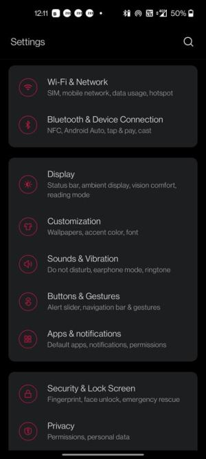 settings android phone