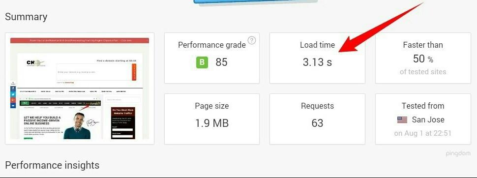 cybernaira page speed score