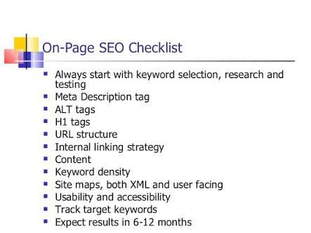 On-page checklist
