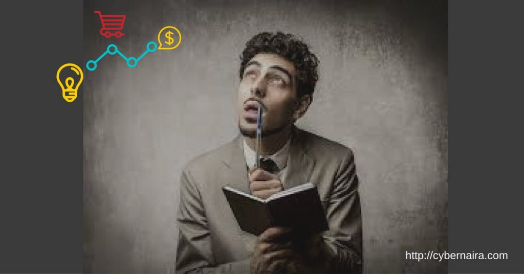 content marketing ideas - man looking up with a pen in his hand