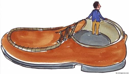 a man in a shoe