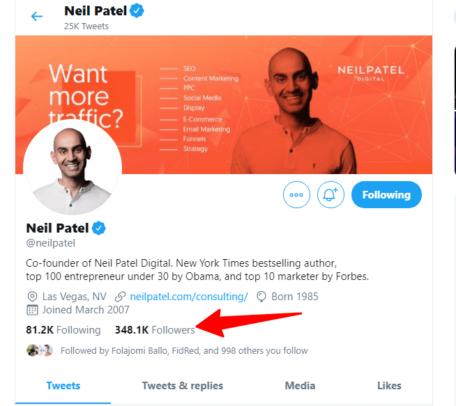 Neil Patel Twitter profile page
