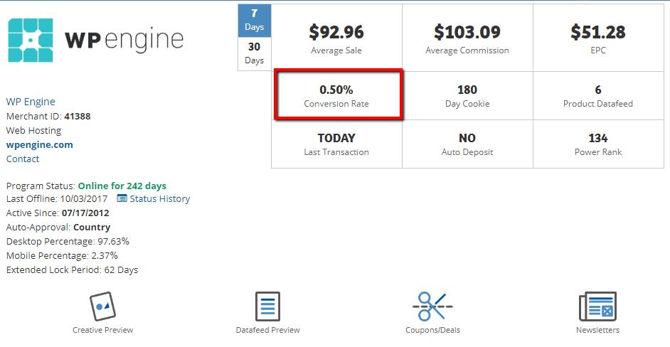 wp engine affiliate program details page