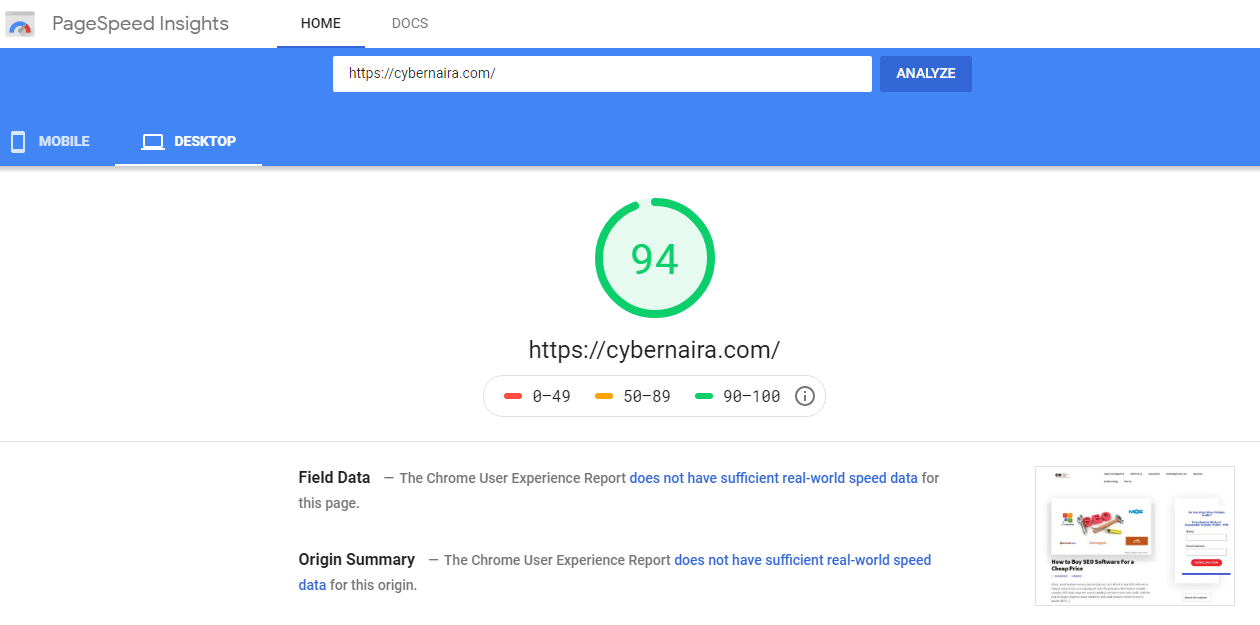 Google page speed insight report for cybernaira