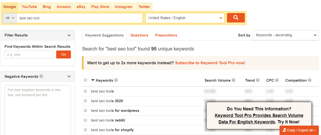 keyword.io data keyword tool