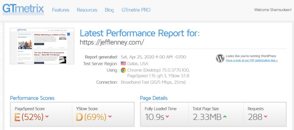 Gtmetrix score for jefflenny blog running Adsense code - 9.5 seconds