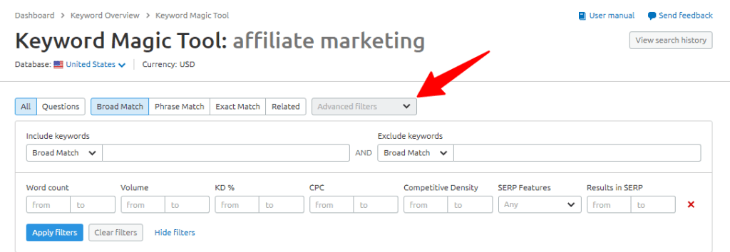 advanced filters option in SEMRush keyword magic