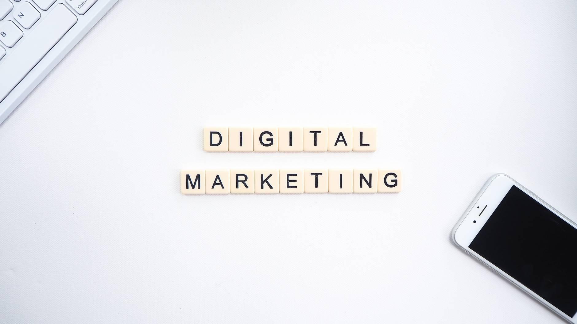 scrabble letters spelling digital marketing