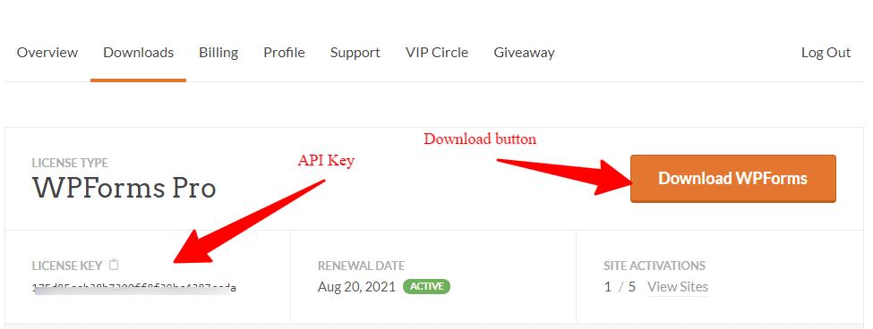 wpforms license page api key