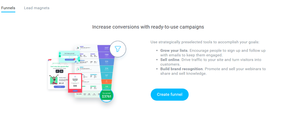 getresponse sales and lead magnet funnels
