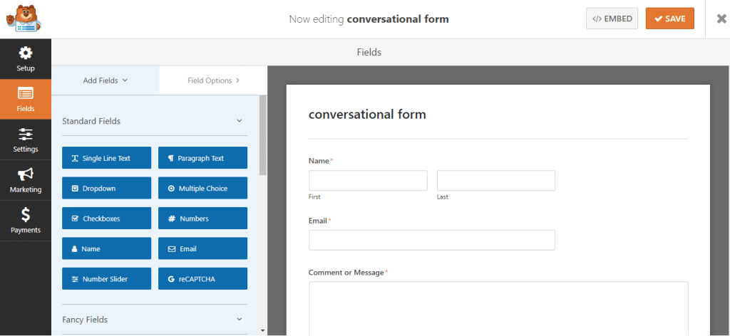 contact form drag and drop page builder in wpforms
