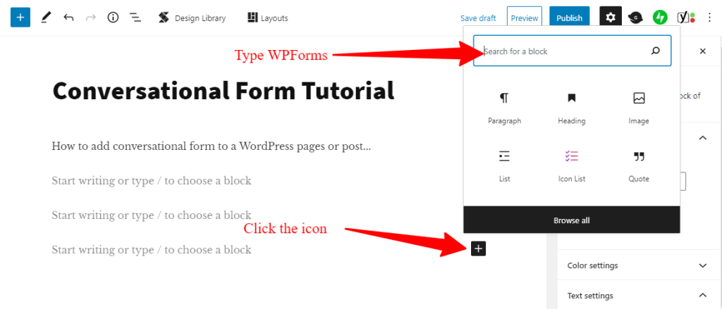 adding conversational form to WordPress pages/post