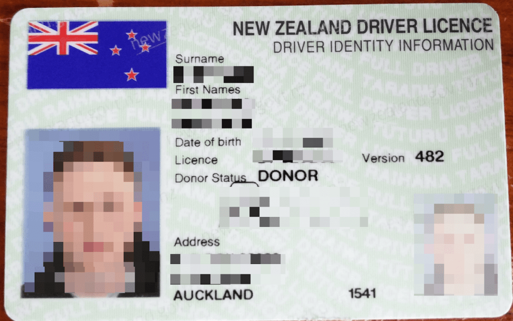 censored NZ driver license