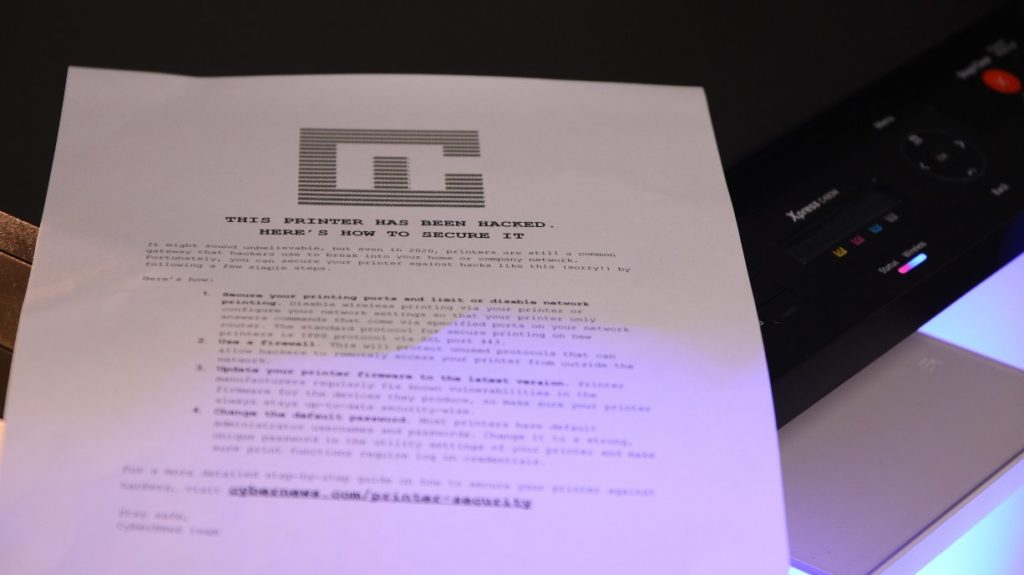 Printer security guide printed on hijacked devices