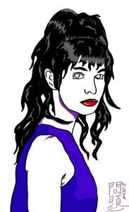 The cover of Back in the Day, a pale woman with dark hair in the style of Patrick Nagel.