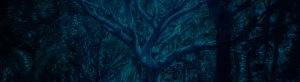 A tree glows blue in a forest
