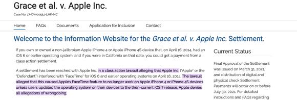 Grace Vs Apple Class Action Lawsuit