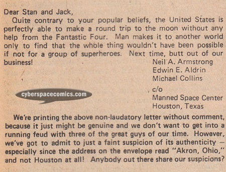 Fantastic Four letters page with Neil Armstrong
