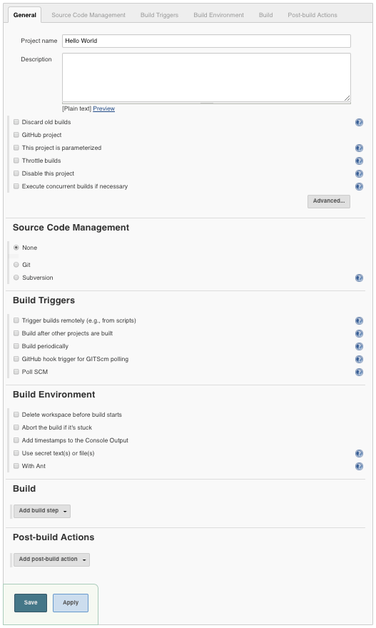 Project Configuration View