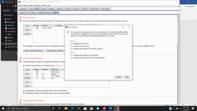 Configuring CA Certificate for Burp Suite