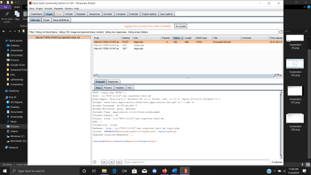 Viewing entered login values from the DVWA in Burp Suite