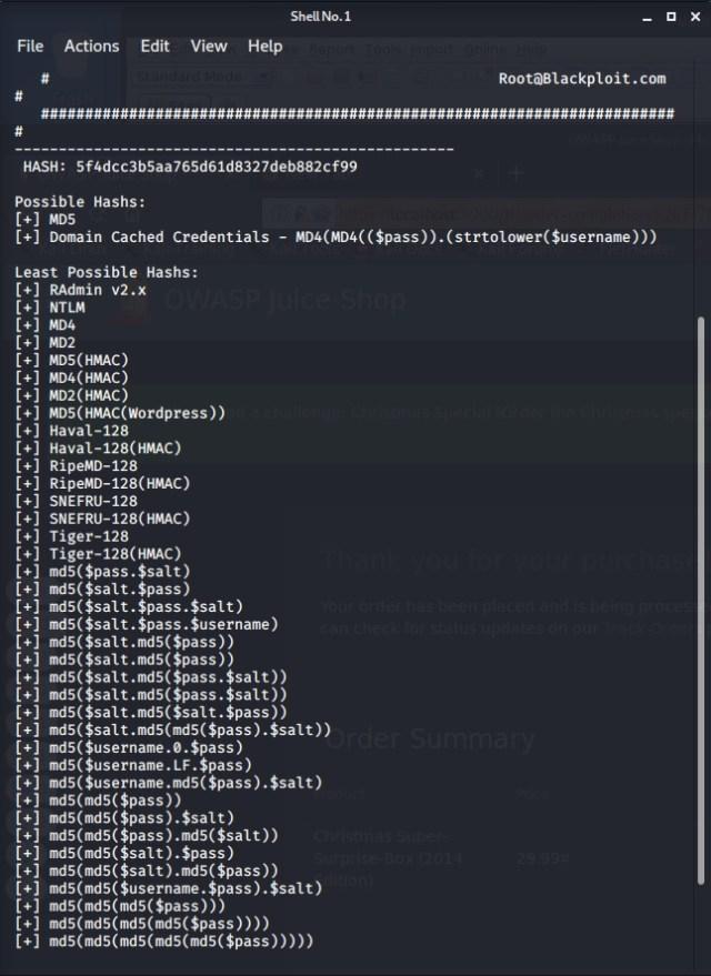 Identifying an MD5 hash