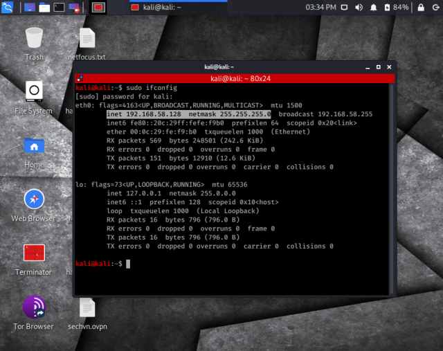 ifconfig example