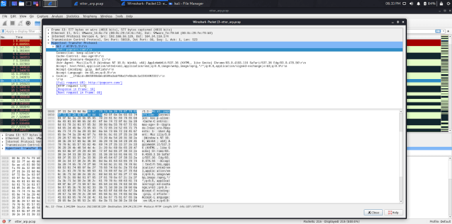 Wireshark capturing traffic from the ARP spoofing with Ettercap