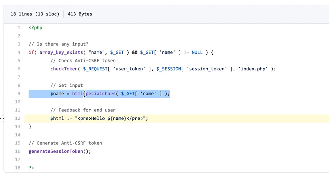 XSS code security review