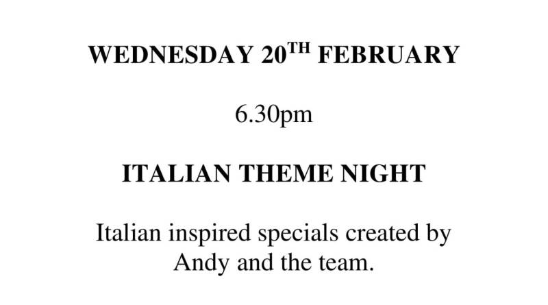 Join us at CYC for our Italian Theme Night on the 20th February.