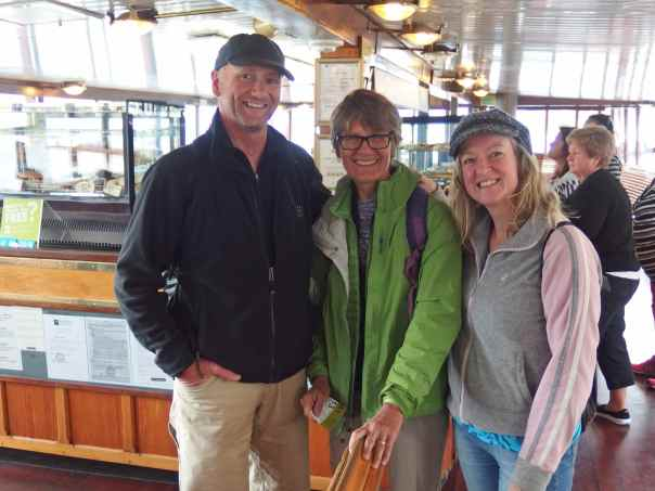 Paul, Elizabeth and I on the coal-fired steamer in Queenstown.