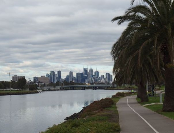 View of Mellbourne from the Capital City Trail.