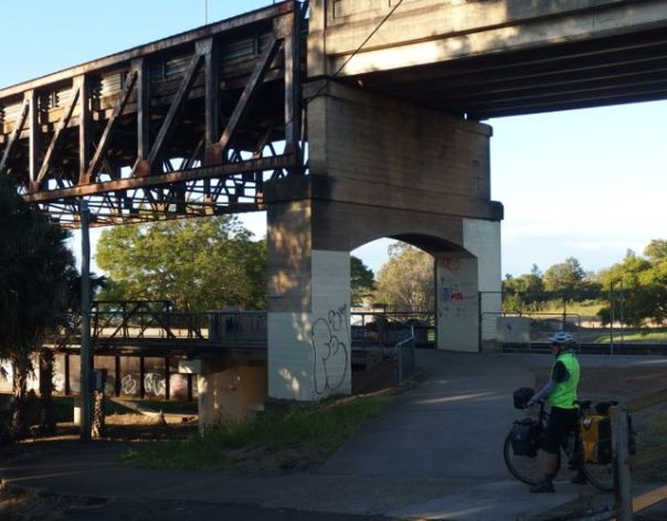 The cycle/pedestrian path attached to the railroad bridge beneath the car bridge. (There were no signs and it took us awhile to find it.)