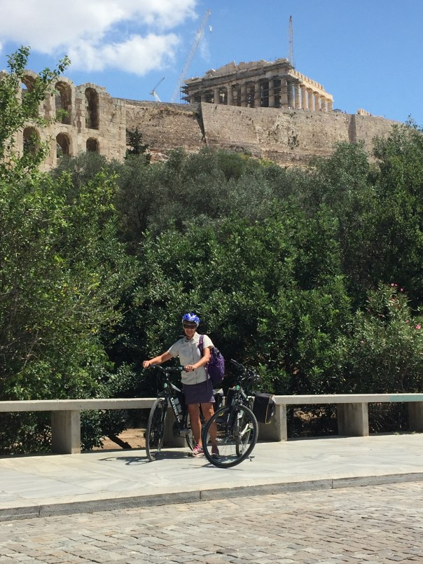 We cycled around the Acropolis on the way to the metro station Thissio.