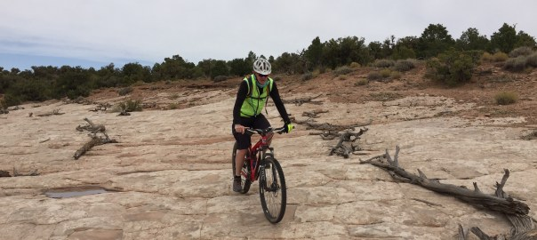 Cycling down not-too-steep slick rock is lots of fun.