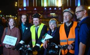 Support from the politicians: Bridget Fox LD, Caroline Allen GRN, Cllr Greg Foxsmith LD, Cllr Janet Burgess LAB, Jeremy Corbyn M.P. and Arthur Graves LD, credit Jim Jepps@bigsmoke.org.uk