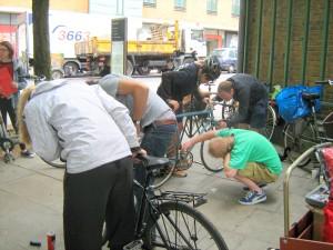 Bent backs courtesy of the bike mechanics