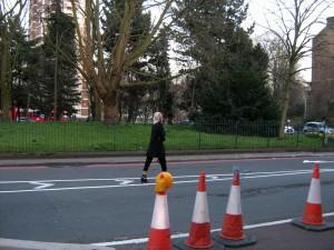 Contraflow pedestrian!