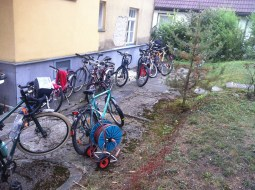 the back garden of the host :D he might be into bikes :D