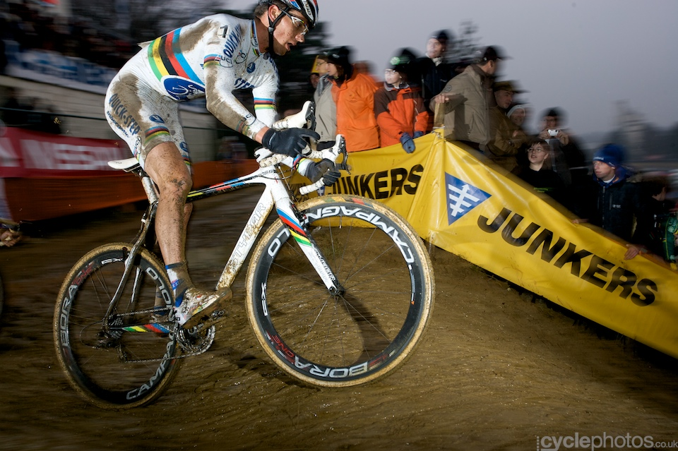 Zdenek Stybar is about to tackle one of the steepest descents of the course. Oh, and it was muddy, too.