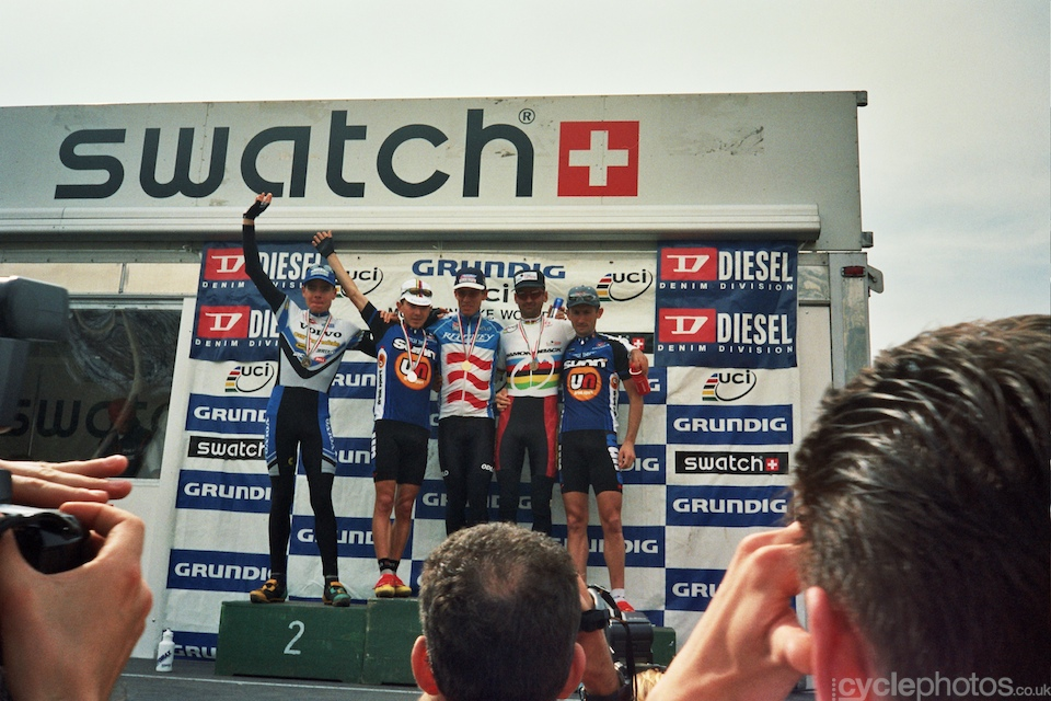 The podium (left to right): Cadel Evans, Miguel Martinez, Thomas Frischknecht, Huber Pallhuber and Christophe Dupouey