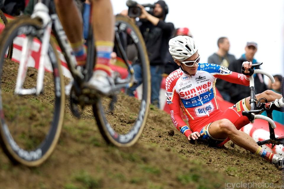 Karel Hink crashes during the first round of the Bpost Trofee cyclocross race in Ronse, Belgium.